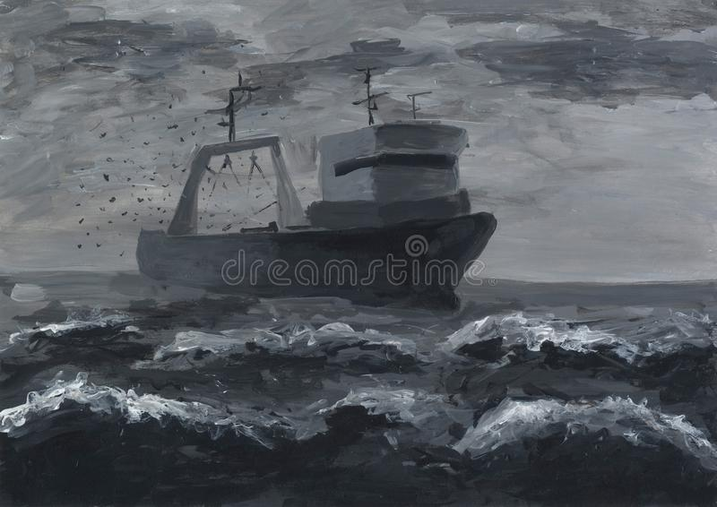 Fishing trawler in the open sea. Illegal fishing. Ecological issue. Environmental problem. Grisaille painting. Black and white abstract artwork royalty free illustration