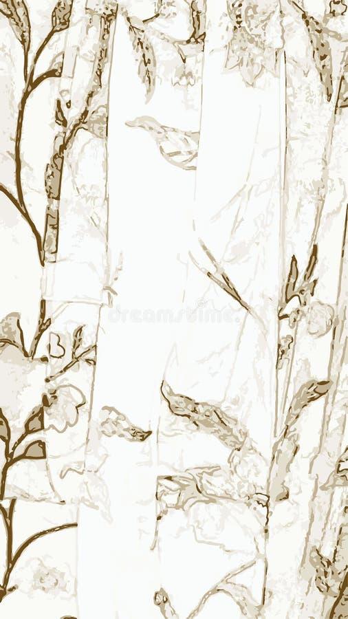 Grisailleachtergrond met bladeren vector illustratie