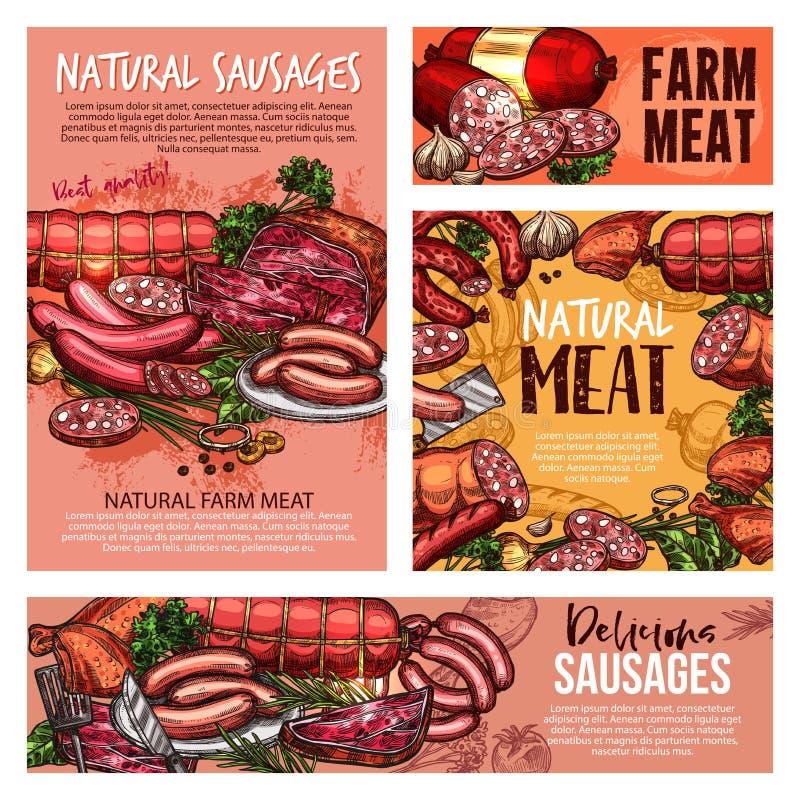 Griskött och nötkött, kött, korvar, skinka, salami, bacon vektor illustrationer