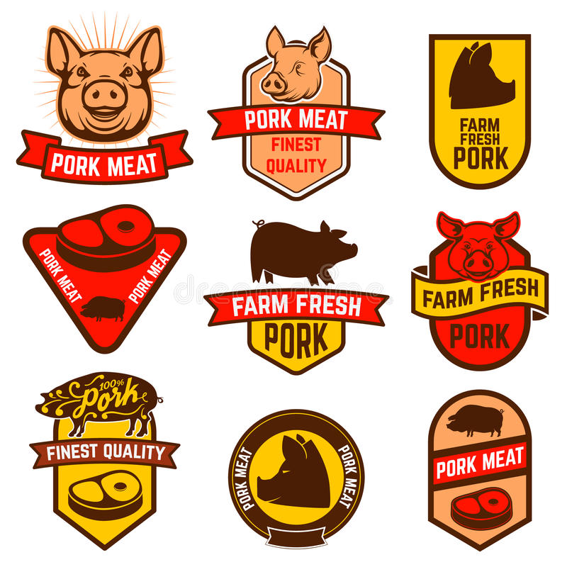 Grisköttkött, slaktare shoppar etiketter vektor illustrationer