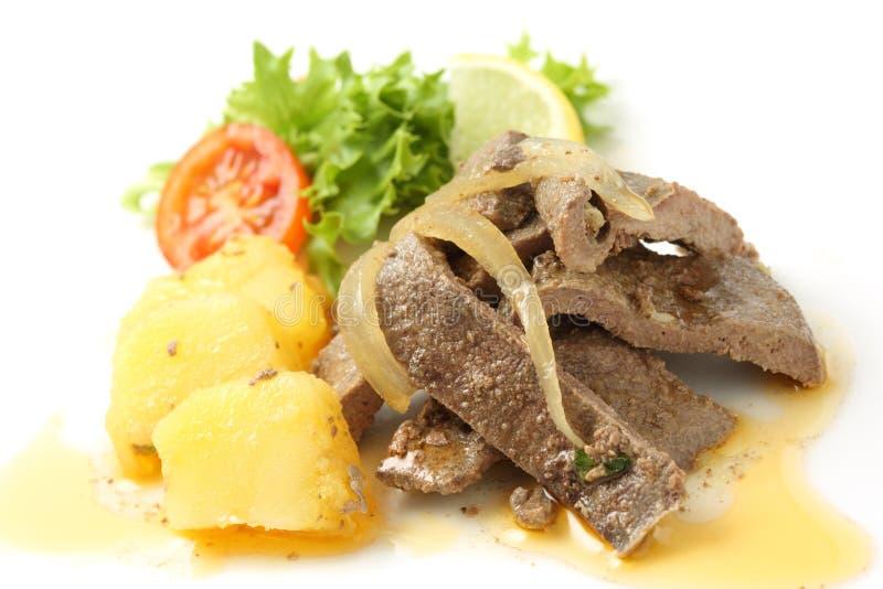 Grisköttlevermaträtt, portugisisk stil royaltyfri bild