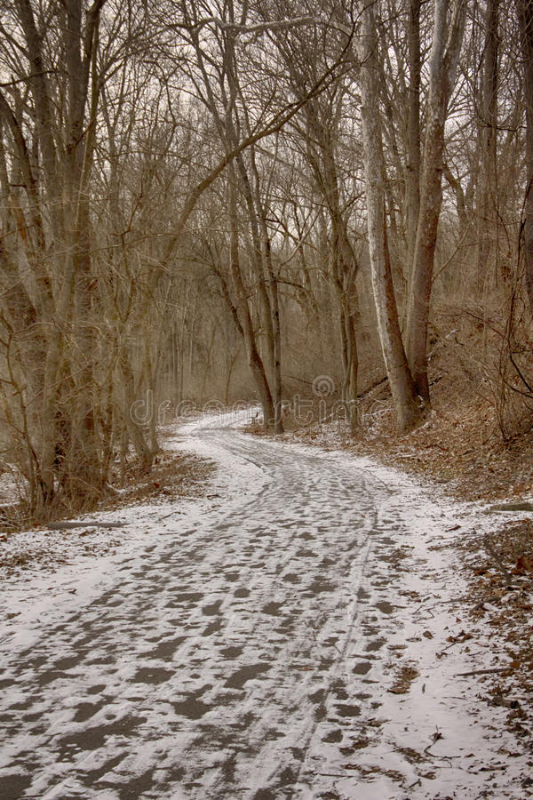 Grist Mill trail with snow stock image