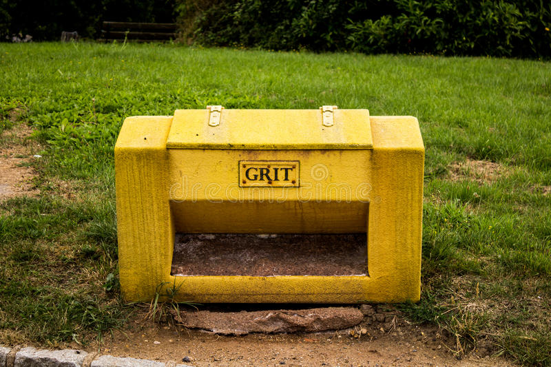 Grit container. In preparation for the cold icy months stock image
