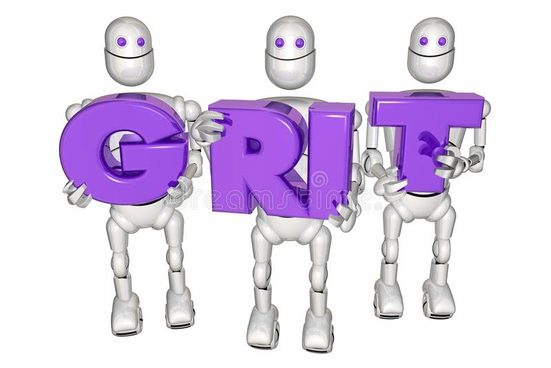 Grit Determination Persistence Robots Holding märker illustrationen 3d vektor illustrationer