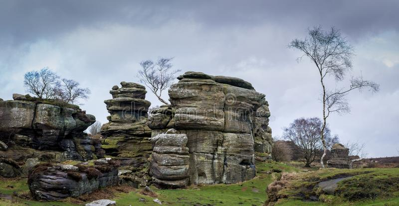 Grit rock outcrop at historical Brimham rocks in Yorkshire stock photography