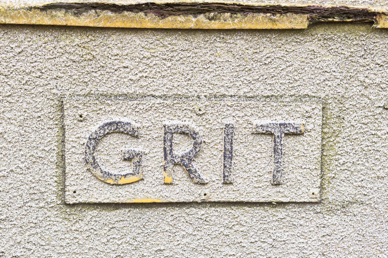Grit sign. Sign on a crate of grit for the roads in winter stock photos