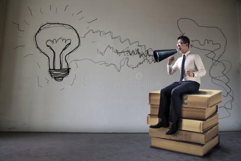 Gritando una idea stock de ilustración