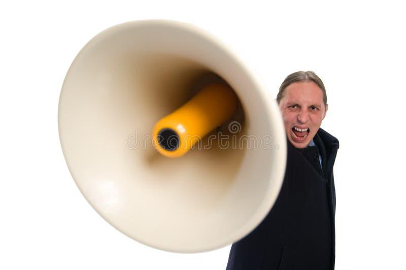 Gritar através do megafone fotos de stock
