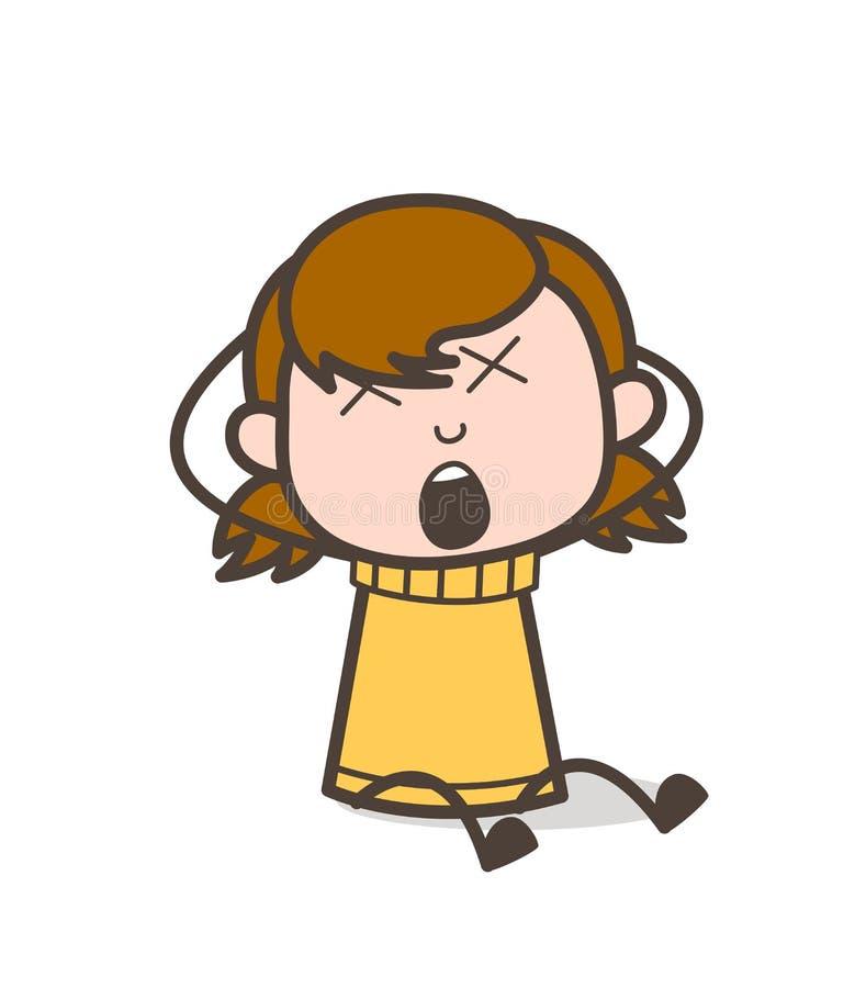 Gritar com Dizzy Face - ilustração bonito da menina dos desenhos animados ilustração royalty free