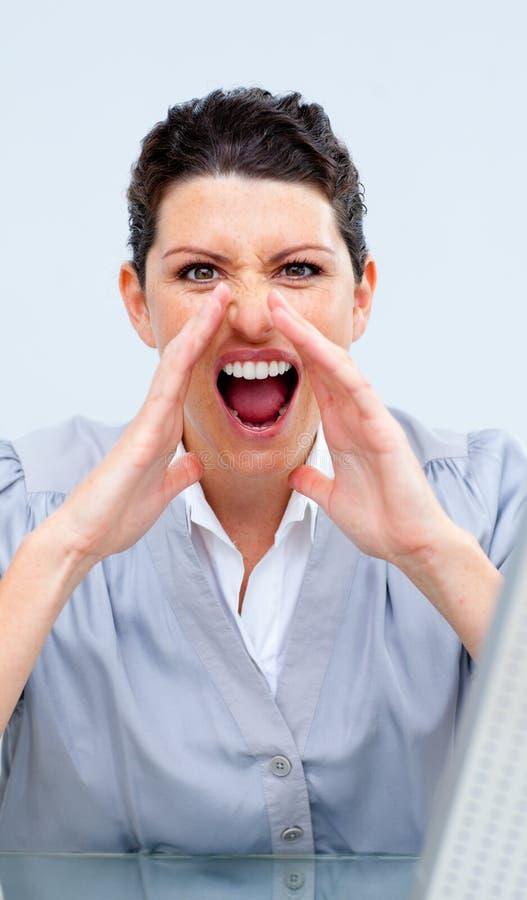 Download Gritar Do Competidor Da Mulher De Negócio Foto de Stock - Imagem de atrativo, conceito: 12813738