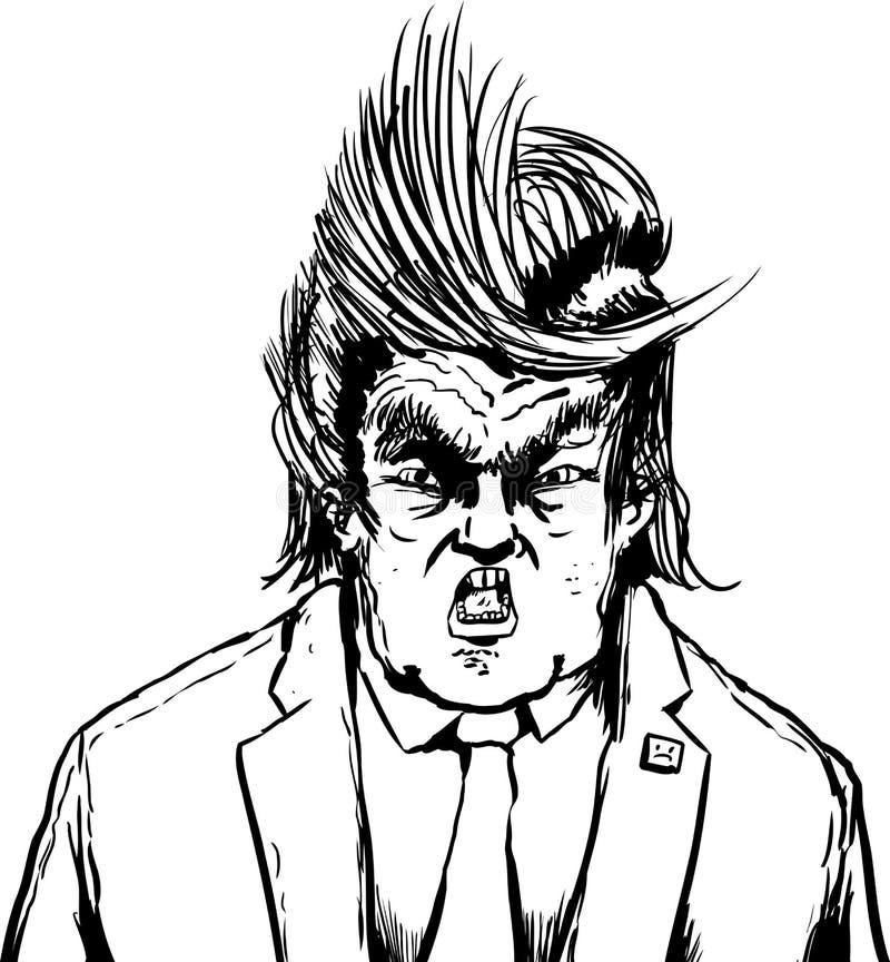 Gritar el triunfo con el pelo dividido extraño stock de ilustración