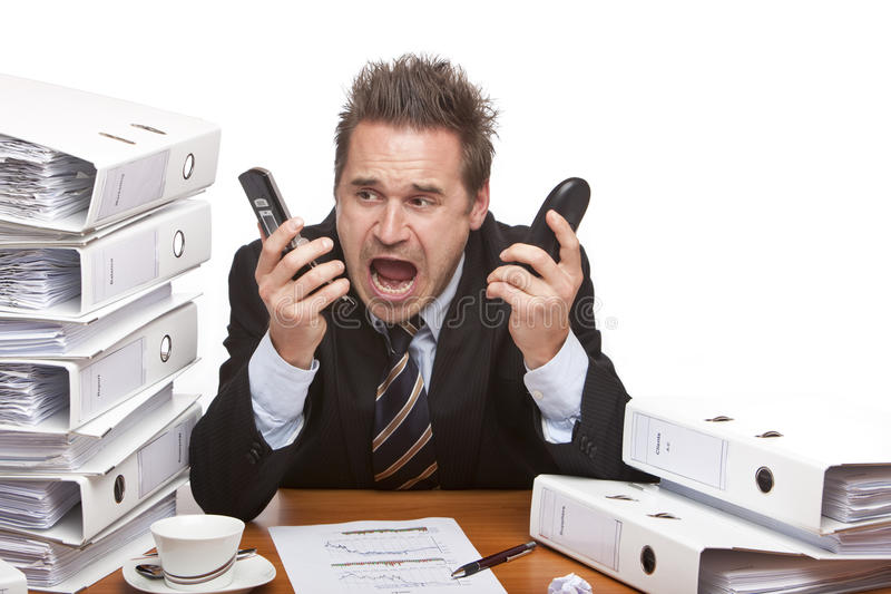 Gritar forçado do homem de negócio frustrado imagem de stock
