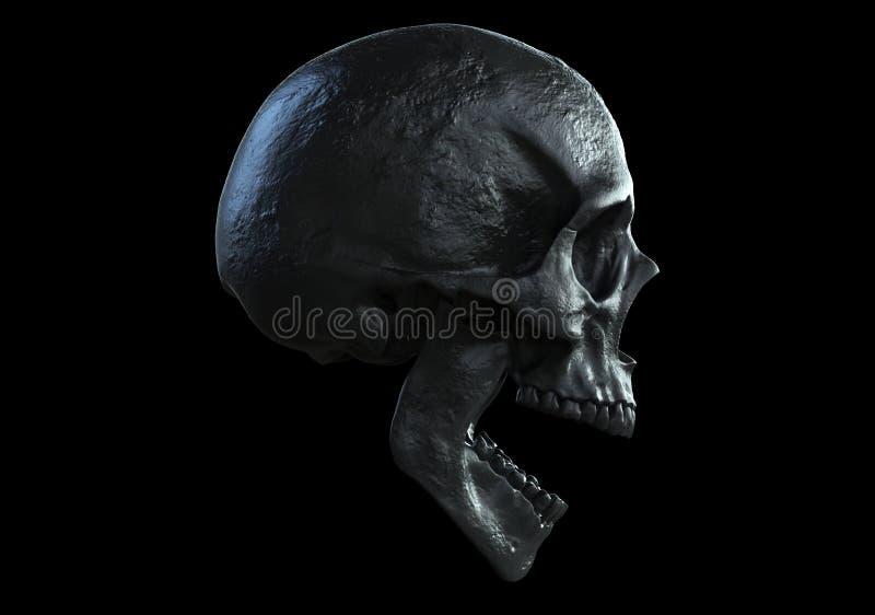 Gritar preto do crânio isolado na vista lateral ilustração do vetor