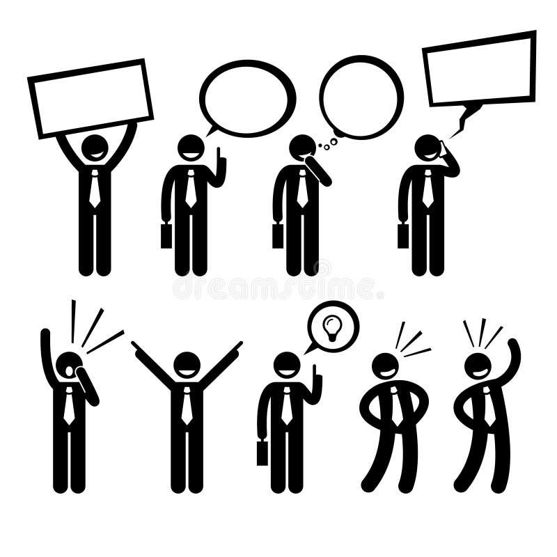 Gritaria de pensamento Cliparts de Business Man Talking do homem de negócios ilustração stock