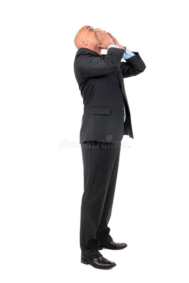Gritaria do homem de negócios fotos de stock royalty free