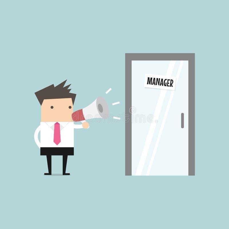 Gritaria do homem de negócios através do megafone fora da sala do gerente ilustração stock
