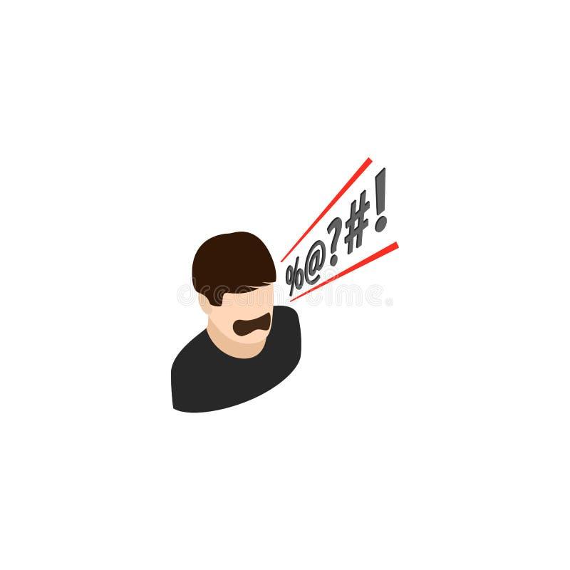 A gritaria do homem maldiz o ícone, estilo 3d isométrico ilustração stock