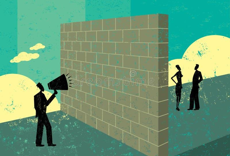 Gritaria em um brickwall ilustração do vetor