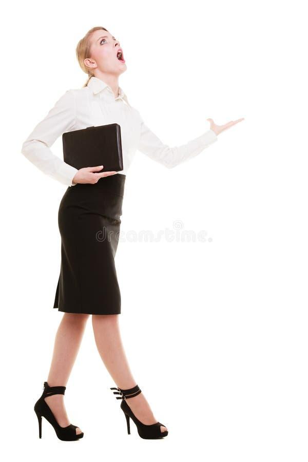 Gritaria gritando do professor louco da mulher de negócios imagem de stock royalty free