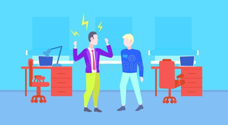 Gritaria irritada do chefe na reprimenda do homem do trabalhador do empregador do escritório moderno mau do conceito de trabalho  ilustração royalty free