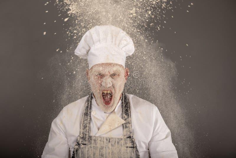Gritaria irritada do cozinheiro chefe em uma nuvem da farinha fotos de stock