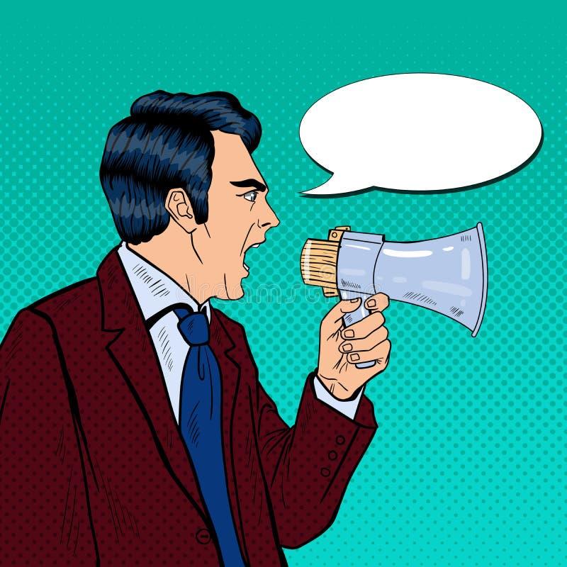 Gritaria irritada do homem de negócios no megafone Pop art ilustração do vetor