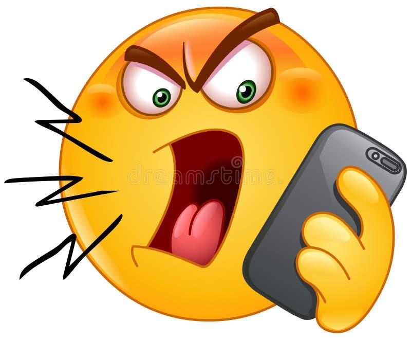 Gritaria no emoticon do telefone ilustração stock