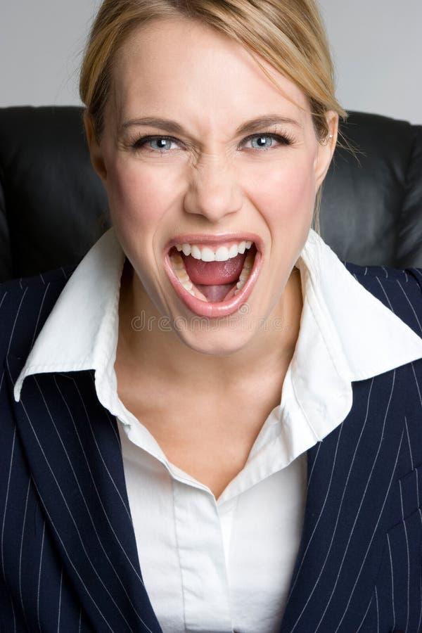 Griterío de la mujer de negocios foto de archivo libre de regalías