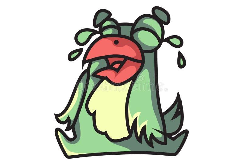 Griterío del emoji del pájaro ilustración del vector