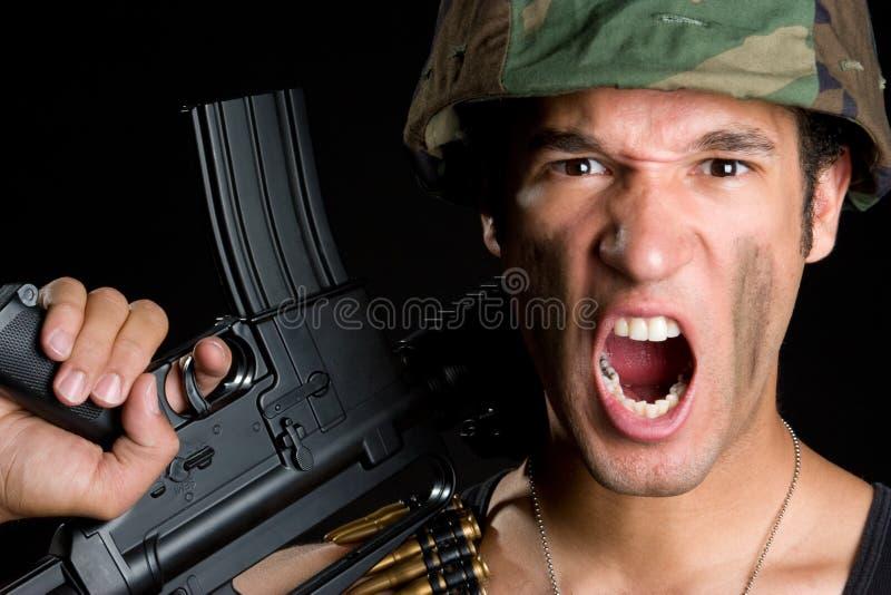Griterío del soldado fotos de archivo libres de regalías