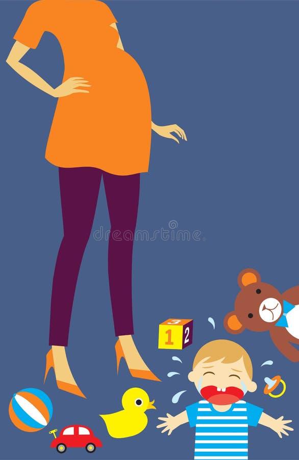 Griterío embarazada del bebé de la mamá fotos de archivo libres de regalías