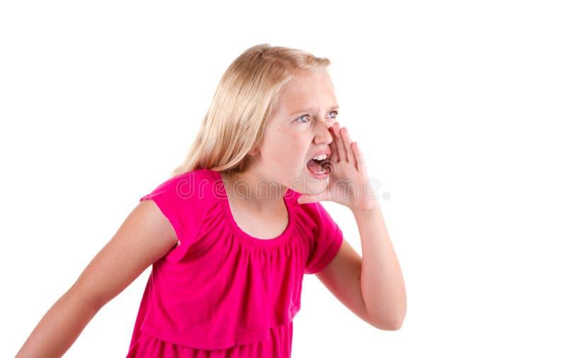 Griterío o grito adolescente enojada fotografía de archivo libre de regalías