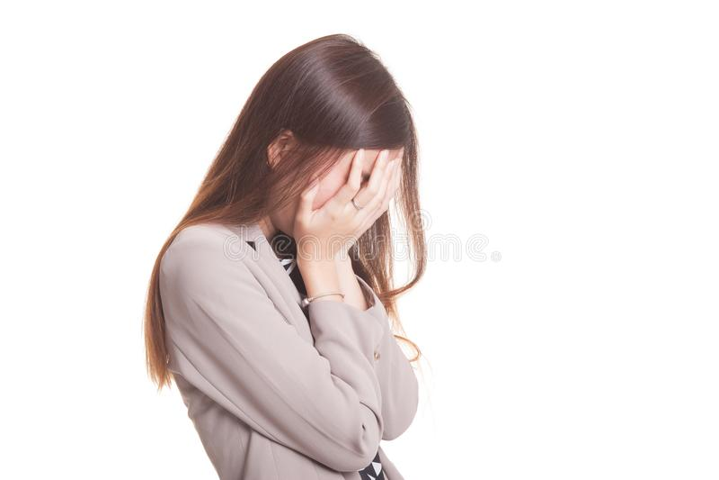 Grito asiático joven triste de la mujer con la palma a hacer frente imagenes de archivo