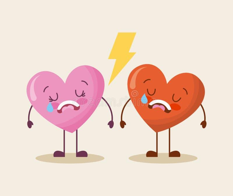 Grito bonito do amor dos corações dos desenhos animados dois triste ilustração stock