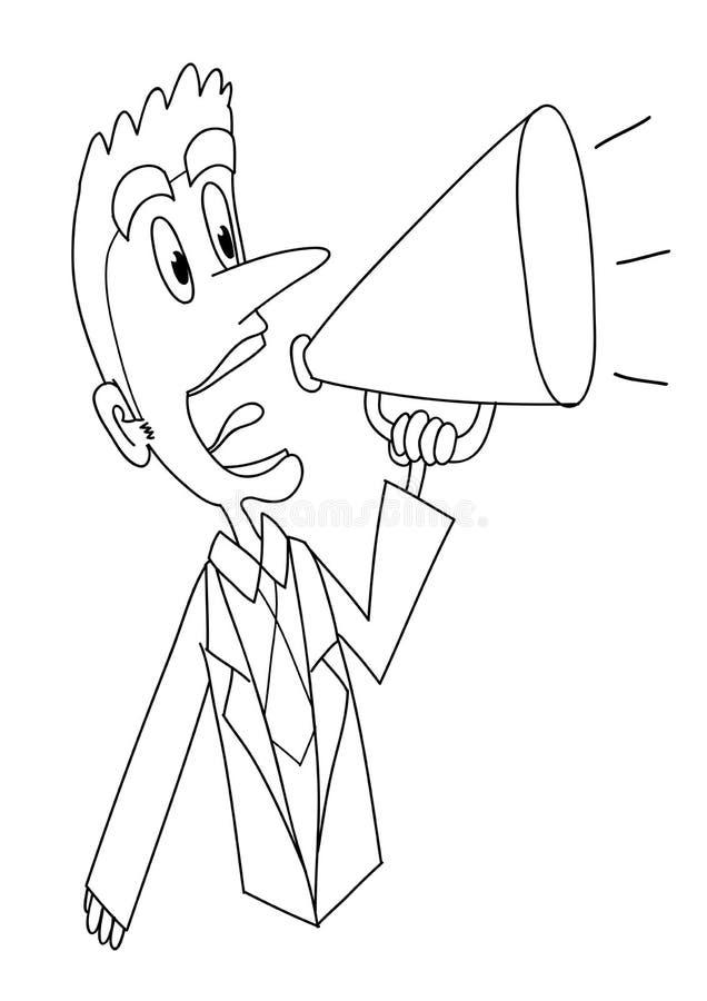 Grito con el BW del megáfono ilustración del vector
