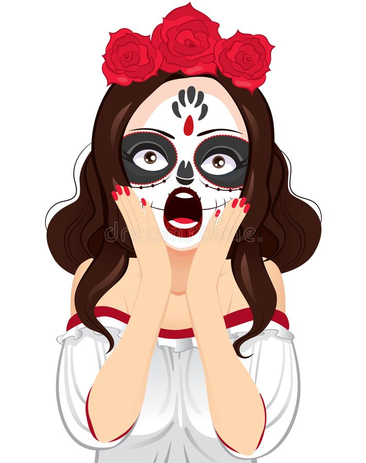 Grito de la mujer de la pintura del cráneo ilustración del vector