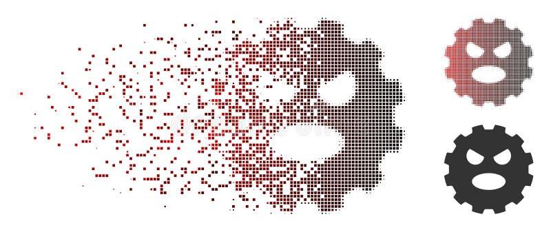 Grito de semitono destrozado Smiley Gear Icon del pixel libre illustration