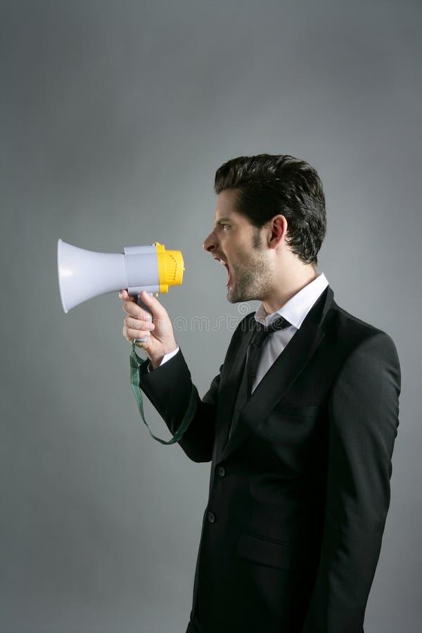Grito del perfil del megáfono del hombre de negocios del megáfono imagen de archivo libre de regalías