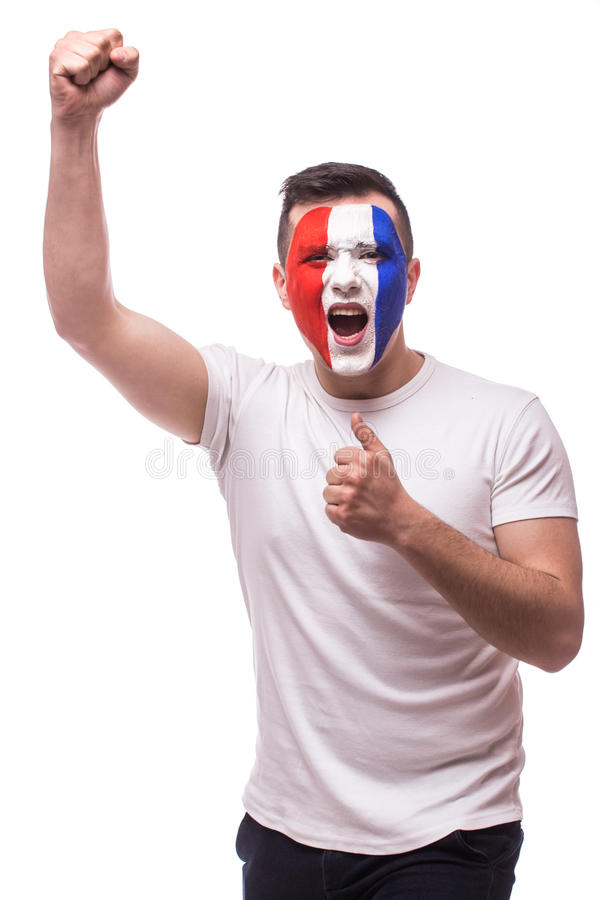 Grito eufórico del fanático del fútbol de Francia en juego del triunfo o de la cuenta del equipo nacional de Francia imagen de archivo