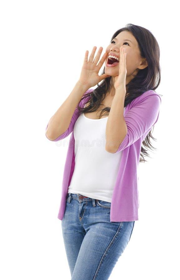 Grito/que grita de la mujer foto de archivo libre de regalías