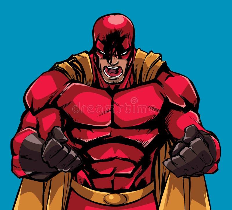 Grito Raging do super-herói ilustração royalty free