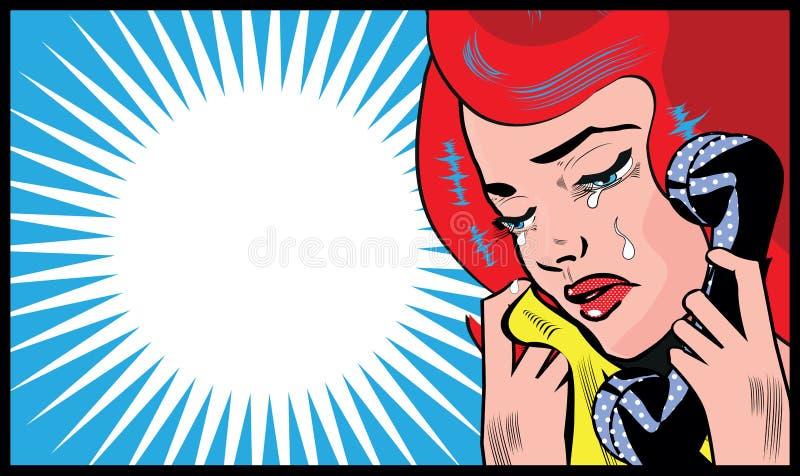 Grito triste de la mujer y el hablar con símbolo social del ejemplo del arte pop del teléfono medios stock de ilustración