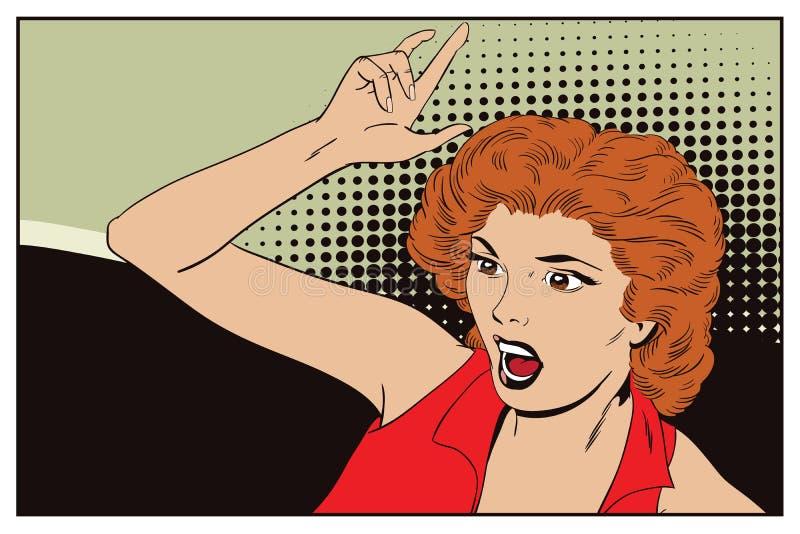 Gritos da mulher e mãos das abanadas Povos no estilo retro ilustração royalty free