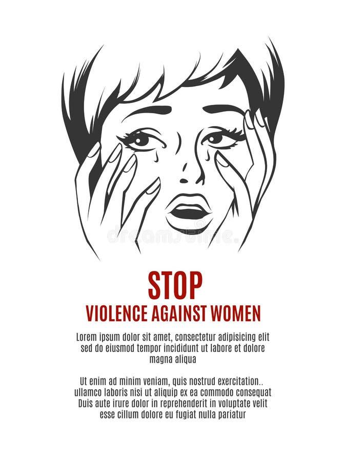 Gritos da mulher Pare a violência contra o vetor das mulheres ilustração stock