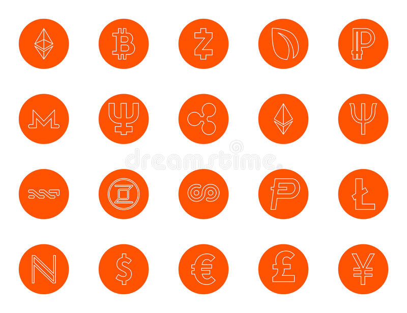 Gritos de la moneda y monedas digitales básicos del mundo, un sistema de iconos lineares redondos, cambio del color en un tecleo, libre illustration