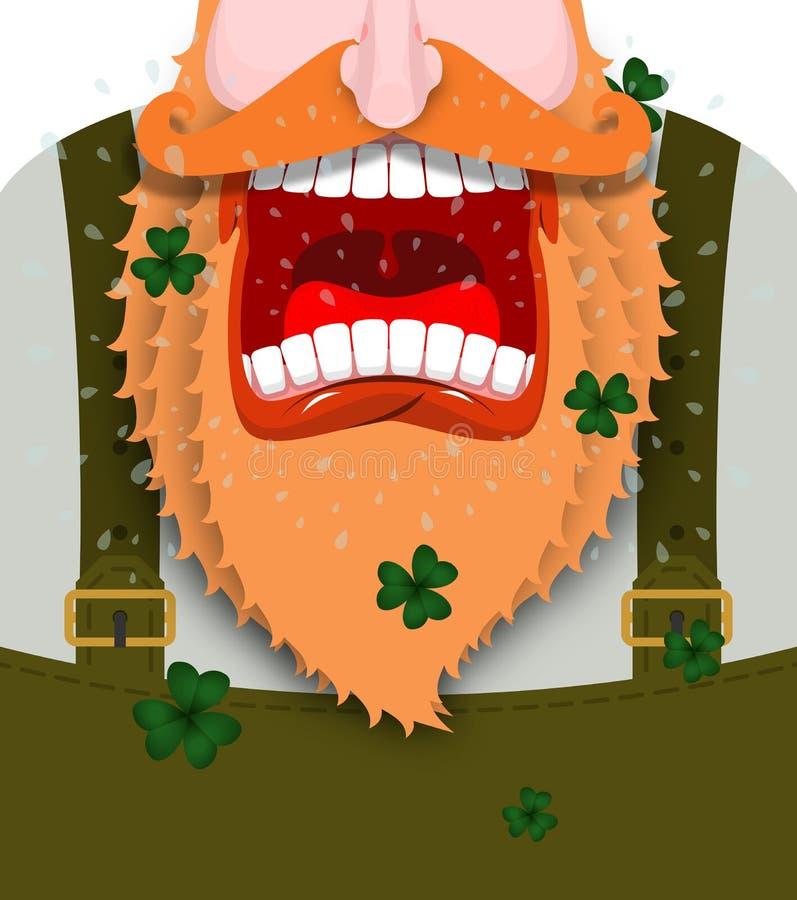 Gritos del duende Gritos rojos de la barba del gnomo asustadizo Sh enano enojado stock de ilustración