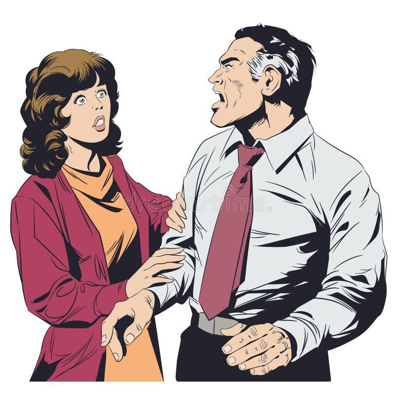 Gritos del hombre en la mujer Ilustración común ilustración del vector