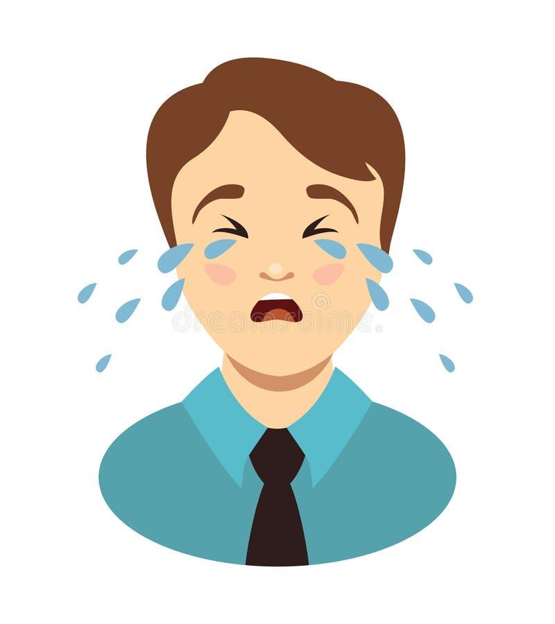 Gritos do homem Chorando a cabeça do menino ilustração royalty free