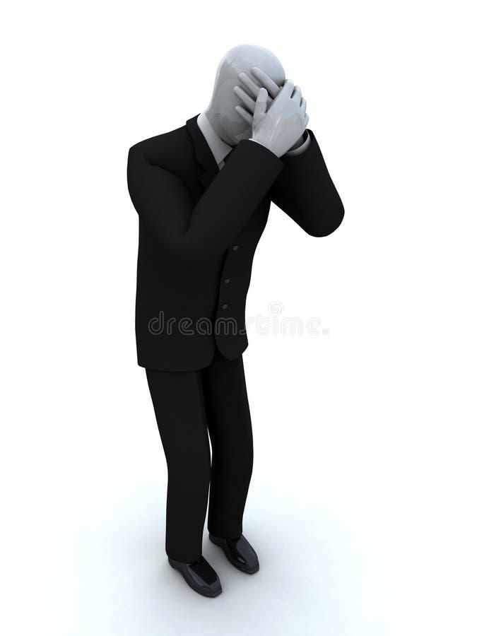 Gritos do homem de negócios que fecham a face com o ha fotografia de stock royalty free