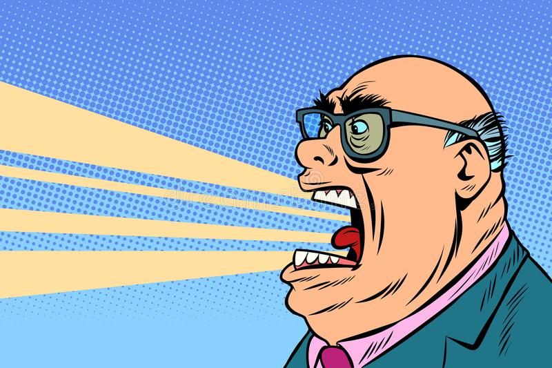 Gritos enojados del jefe stock de ilustración